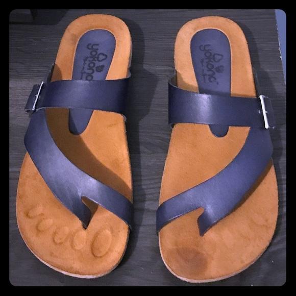 Yokono Navy Blue Leather Sandals Sz 75