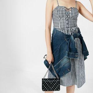 Gingham Lace Up Cotton Midi Dress