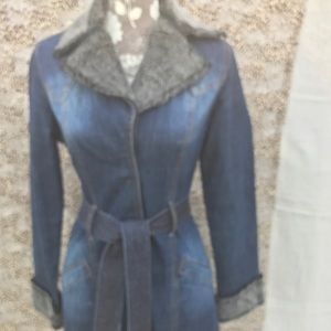 Jackets & Blazers - Y.O.Y.O. Brand Denim Coat with Faux Fur Trim Sz M