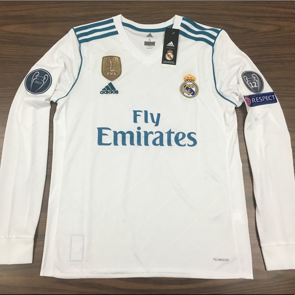 sports shoes 5d496 b70a4 Real Madrid Ronaldo White long sleeve jersey 2017 NWT