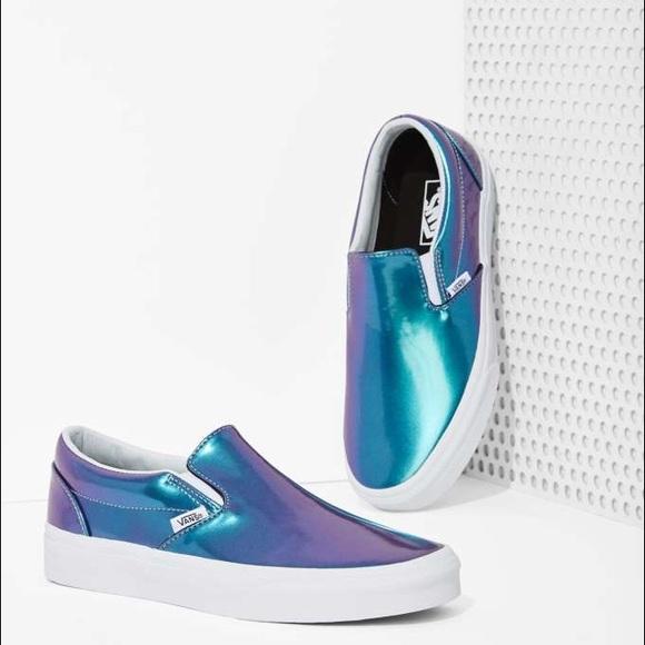 9faf0645b668e5 Vans Blue Patent Leather Slip-On Shoes