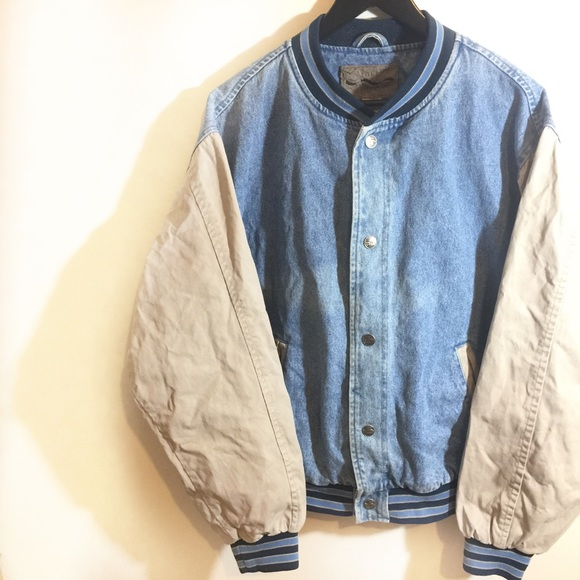 98210f48fad 🍭 Port Authority  Retro Denim Jean Varsity Jacket.  M 5983a523ea3f365dc5003e88