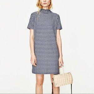Zara blue/ white checked mini jacquard dress