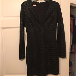 Long sleeve black and sparkly dress