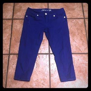 Designer Seven7 Blue Cropped Jeans Stretch Skinny