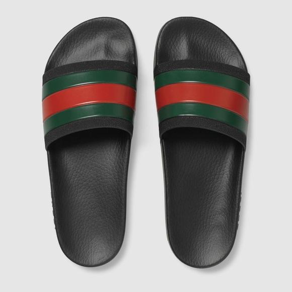 06c4fbd38137b3 Gucci Trek Web Slide Black Sandals