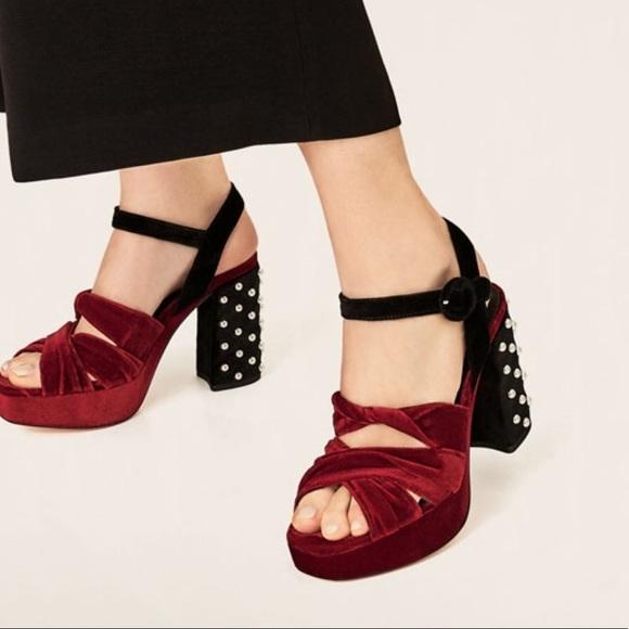 70fee597456 Zara Velvet Studded Platform Sandals