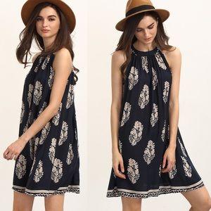 👗Beautiful European print linen dress 💜
