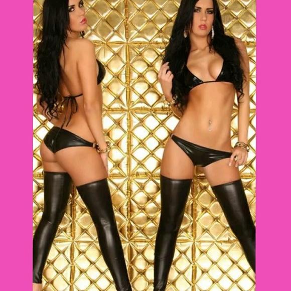 69e302f51 Sexy Dominatrix Faux Leather PVC Lingerie Set