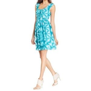 Calvin Klein blue tie dye empire waist tie dress