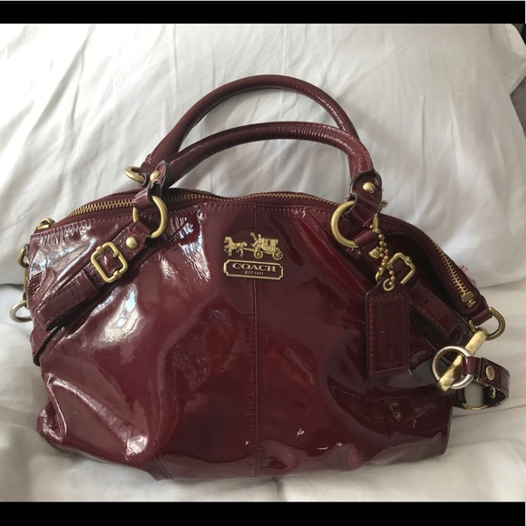 63e31ad470 Coach Handbags - COACH Madison Red Patent-leather Sophia Satchel