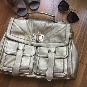 Handbags - Gold Vegan Satchel