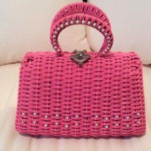 Handbags - Vintage Hot Pink Vinyl Straw Handbag