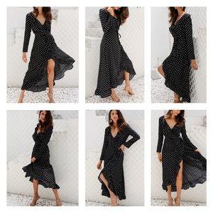 ✨New-Autumn long sleeve ruffle wrap dress (S - XL)