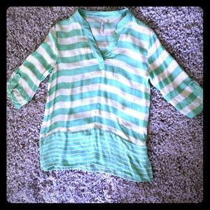 Michael Stars silk mint striped v-neck blouse