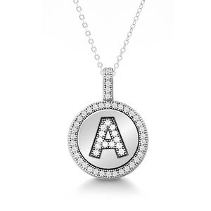 "Jewelry - A - Z Sterling Silver CZ Necklace with 18"" Chain"