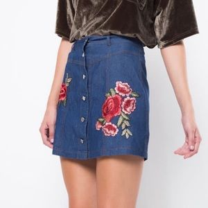 Dresses & Skirts - Denim skirt with rose patch detail