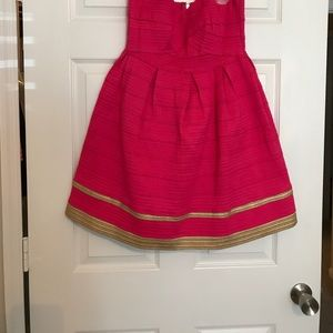 Dresses & Skirts - Hot Pink Strapless Dress with Gold Dress