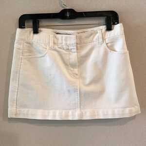 Theory white/ivory jean mini skirt