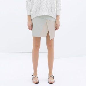 Zara Two tone faux leather mini skirt NWT