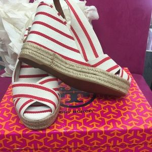 Tory Burch Red Striped Wedged sandals, 9