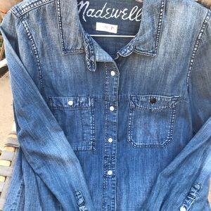 Madewell Shrunken Denim boy shirt  Small