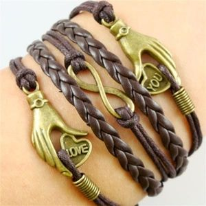 Jewelry - New Arrival!! Brown Leather Wrap Charm Bracelet