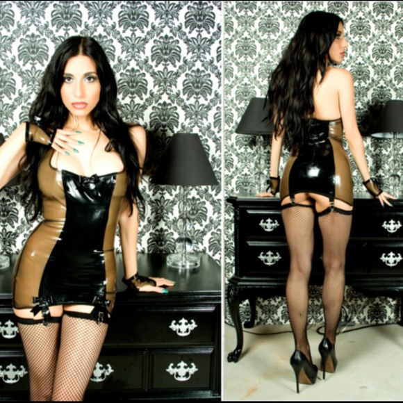 Maggiedelena Dresses & Skirts - Latex HALTER GARTER DRESS WITH BOWS