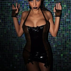 Maggiedelena Dresses - Latex HALTER GARTER DRESS WITH BOWS