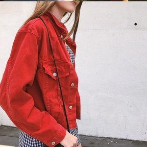 Brandy Melville red crop frayed Betsy denim jacket