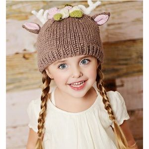 The Blueberry Hill Accessories - Hartley Deer Hat with flowers 4d04be18f600