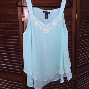 Plus size tank with bead accents