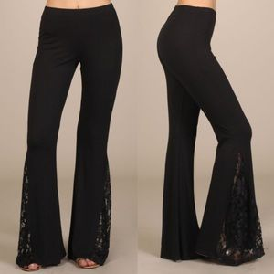 JOSIE Lace bell bottom pants - BLACK