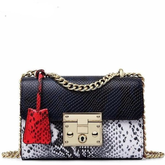 Selfmadebabes.com Handbags - Trendy Python Genuine Leather Bag