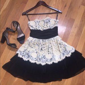 Worn ONCE Betsey Johnson Black & Creme Lace Dress