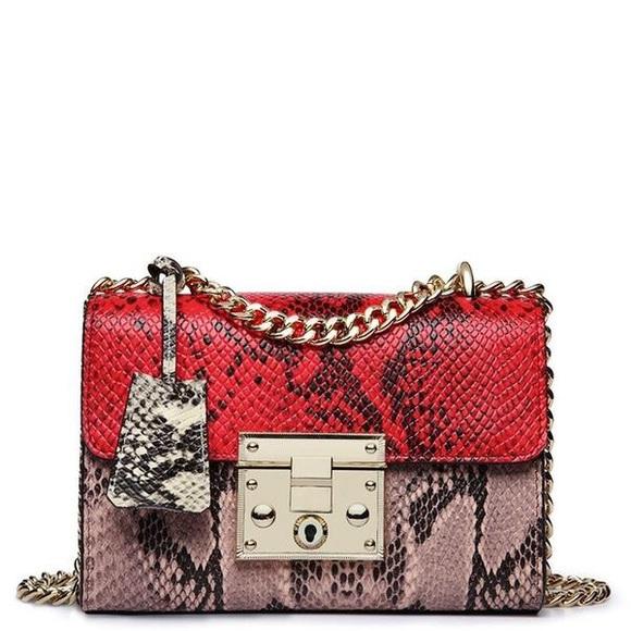 SelfMadeBabes.com Handbags - Red & Pink Python Genuine Leather Bag