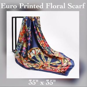 Accessories - Satin Euro Printed Floral Blue Scarf