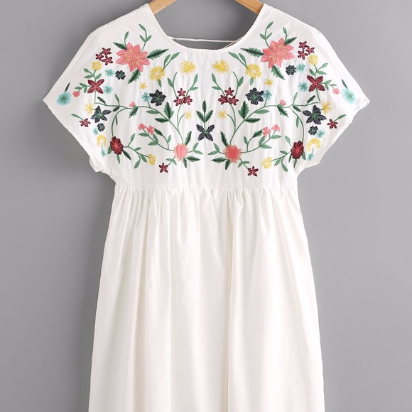 0dc9d454 Zara Dresses | Lace Up Back Embroidery Smock Dress | Poshmark
