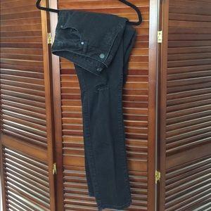Plus size black distressed jeans