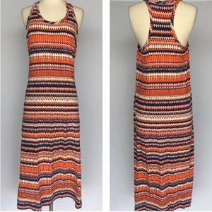 J. Crew orange striped maxi dress