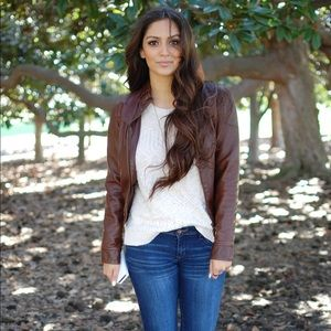 Brown faux leather cropped bomber jacket