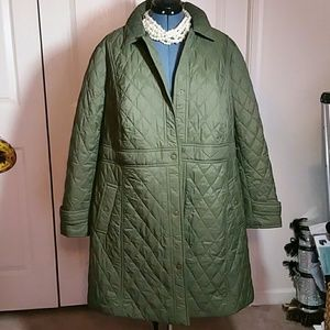 Buy 1 Get 3 Free - Curvy Size Olive Quilted Coat