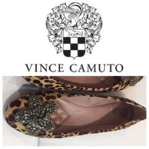 Designer Vince Camuto Leopard-Print Calfhair Flats