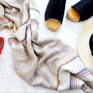 Beige Multicolored Stripe Scarf