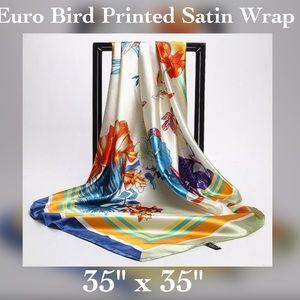 Accessories - ✨Satin Bird Printed Wrap / Shawl