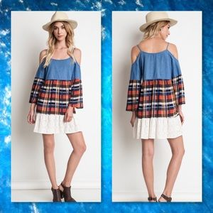 JUST IN🆕Cold Shoulder Plaid & Denim Dress