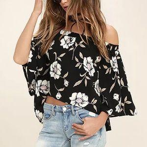 Tops - Off the Shoulder Long Sleeve Floral Blouse
