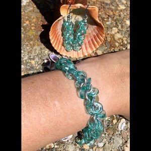 Aqua Glass Loops Bracelet & Earrings