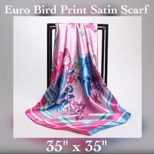"Accessories - ✨Satin Bird Print Wrap / Shawl, 35"" x 35"""