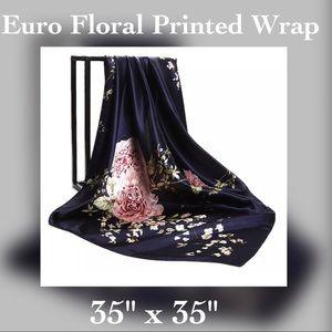"Accessories - ✨Satin Blue Floral Printed Wrap / Shawl, 35"" x 35"""